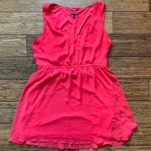 Hot Pink Two Layer Cinched Waist Sleeveless Dress